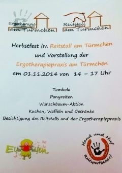Ergotherapie Troisdorf Eröffnung Ergotherapraxis am Türmchen, Herbstfest, Reittherapiestall